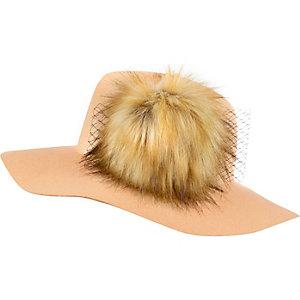 Beige pom pom fedora hat