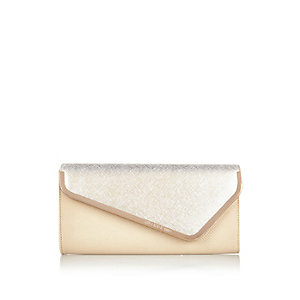 Light beige metal trim asymmetric clutch bag