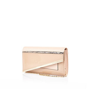 Light pink asymmetric clutch bag