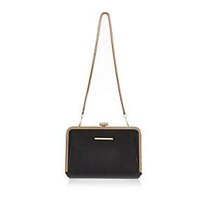 Black snake print frame clutch handbag
