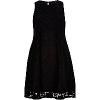Black lace sleeveless swing dress