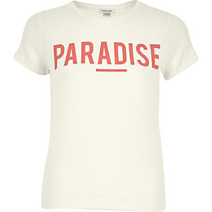 Cream paradise print t-shirt