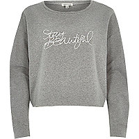 Grey stay beautiful cropped sweatshirt