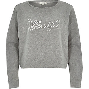 Grey stay beautiful cropped sweatshirt