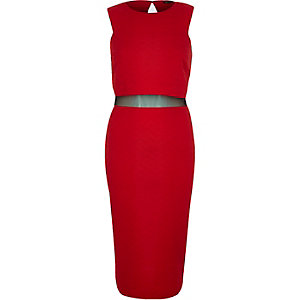 Red mesh panel 2-in-1 bodycon dress