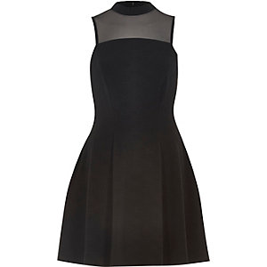 Black mesh panel waisted dress