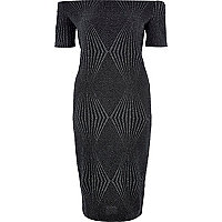 Black sparkly bardot bodycon midi dress