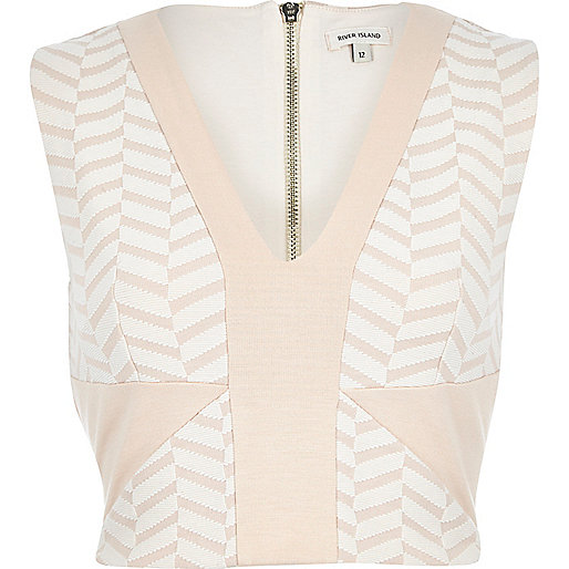 Pink chevron texture fitted cropped top