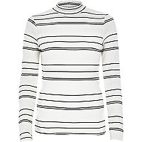 Cream stripe turtle neck top