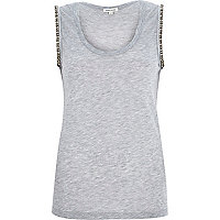 Grey marl embellished tank top