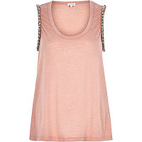 Nude marl embellished tank top