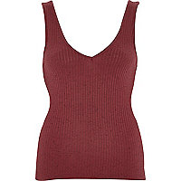 Red marl ribbed V front vest