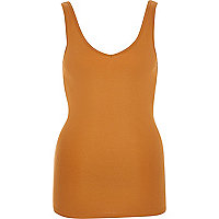 Light brown plain V-neck vest