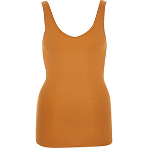 Light brown plain V-neck tank