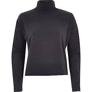 Dark grey polo neck top