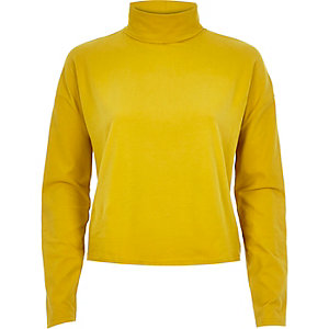 Dark yellow polo neck top