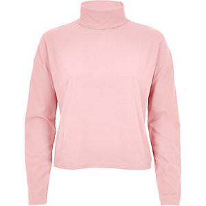 Light pink polo neck top