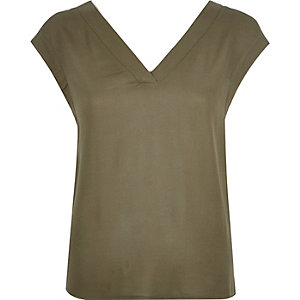 Khaki open back t-shirt
