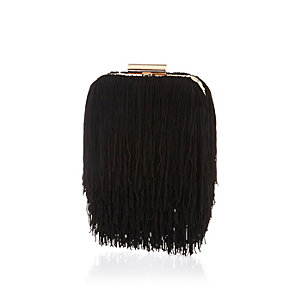 Black fringed box clutch