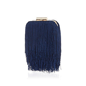 Blue fringed box clutch
