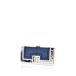 Blue faux suede RI clip top purse