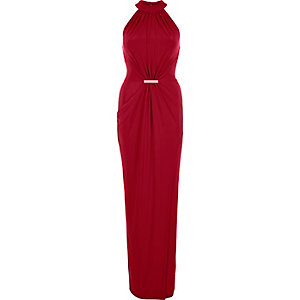 Dark red 70s waisted drape maxi dress