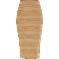 Camel sheer panel pencil skirt