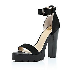 Black suede cleated sole sandals