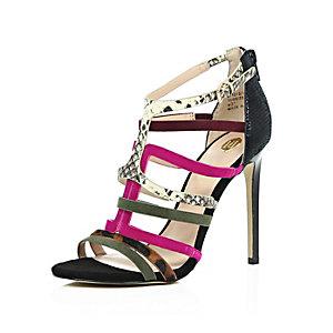 Black suede caged heeled sandals