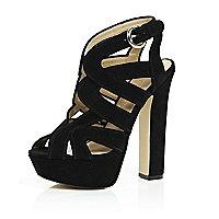 Black suede caged platform heels