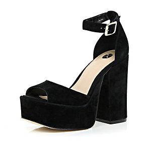 Black suede chunky block heels