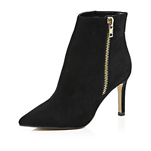 Black pointed toe zip trim heeled ankle boots
