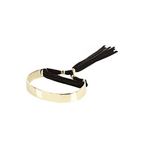 Gold tone tassel bangle