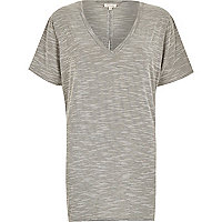 Grey marl split back oversized t-shirt