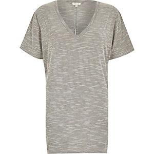 Grey marl split back oversized t-shirt