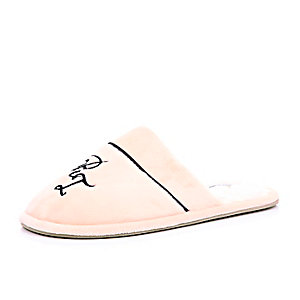 Light pink monogrammed slippers