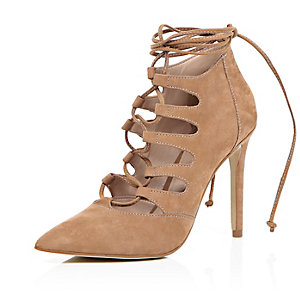 Camel nubuck leather lace up pointed heels