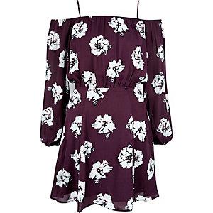 Red floral bardot slip dress
