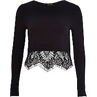 Black long sleeve lace hem t-shirt
