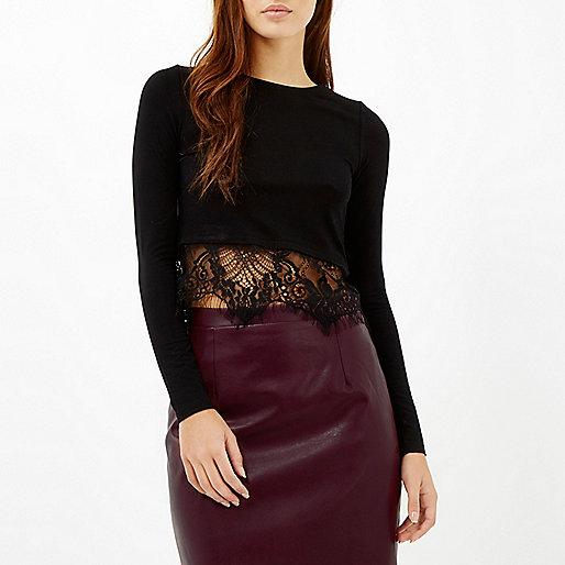 Black Long Sleeve Lace Hem T-Shirt