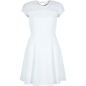White lace top ribbed skater dress