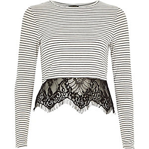 Cream stripe lace hem t-shirt