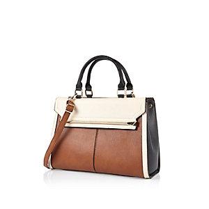 Dark brown double sided tote handbag