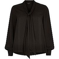 Black pussybow blouse