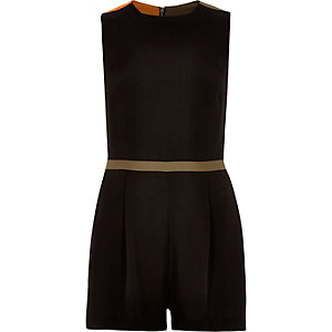 Black colour block open back playsuit