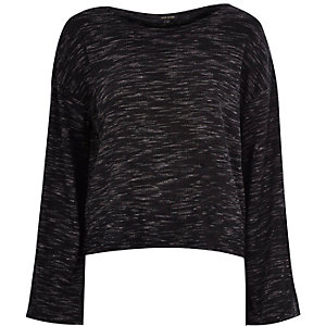 Dark grey marl wide sleeve top