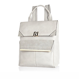 Light grey faux suede panel backpack