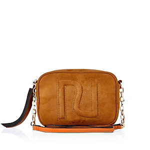 Tan brown faux suede cross body RI handbag