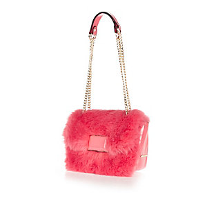 Pink faux fur chain handbag