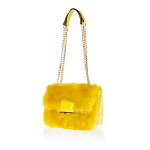 Yellow faux fur chain handbag